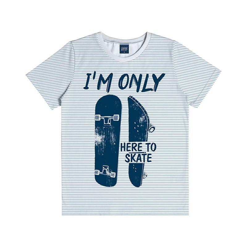 Camiseta Infantil Menino Here to Skate Branco