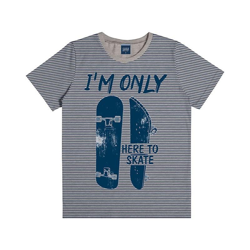 Camiseta Infantil Menino Here to Skate Cinza