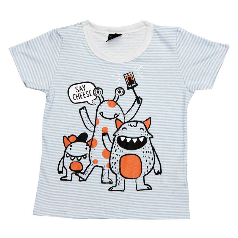 Camiseta Infantil Menino Listras Branco