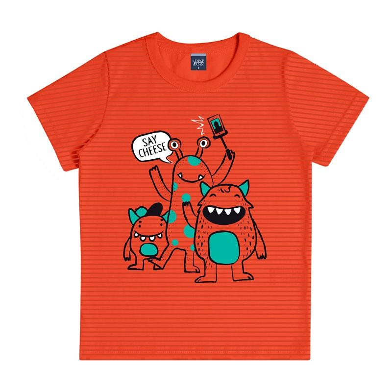 Camiseta Infantil Menino Listras Laranja