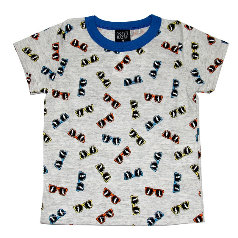 Camiseta Infantil Menino Óculos Cinza