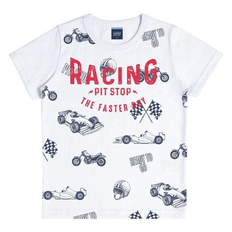 Camiseta Infantil Menino Racing Branco
