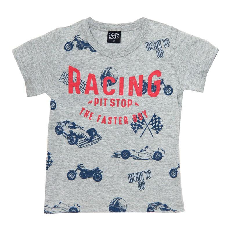 Camiseta Infantil Menino Racing Cinza
