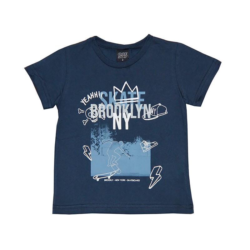 Camiseta Infantil Menino Skate Brooklyn Azul