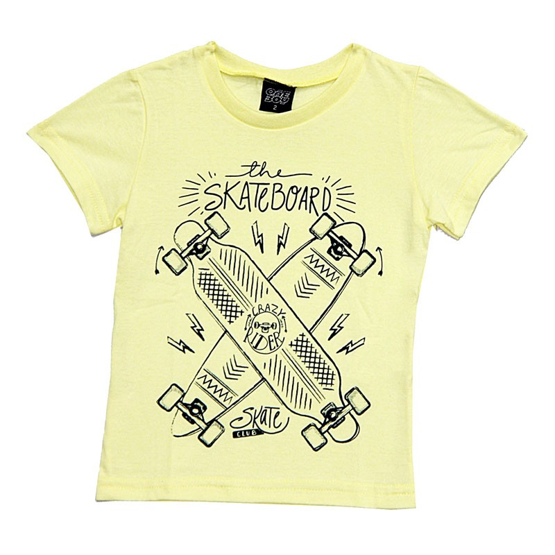 Camiseta Infantil Menino Skateboard Amarelo