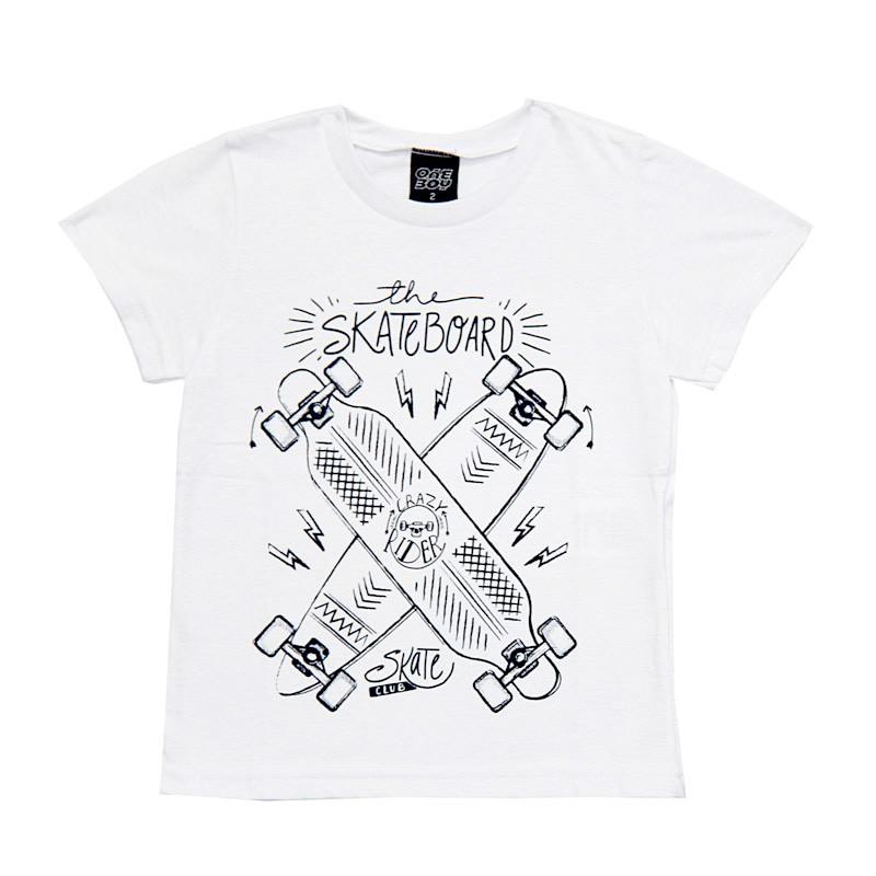 Camiseta Infantil Menino Skateboard Branco