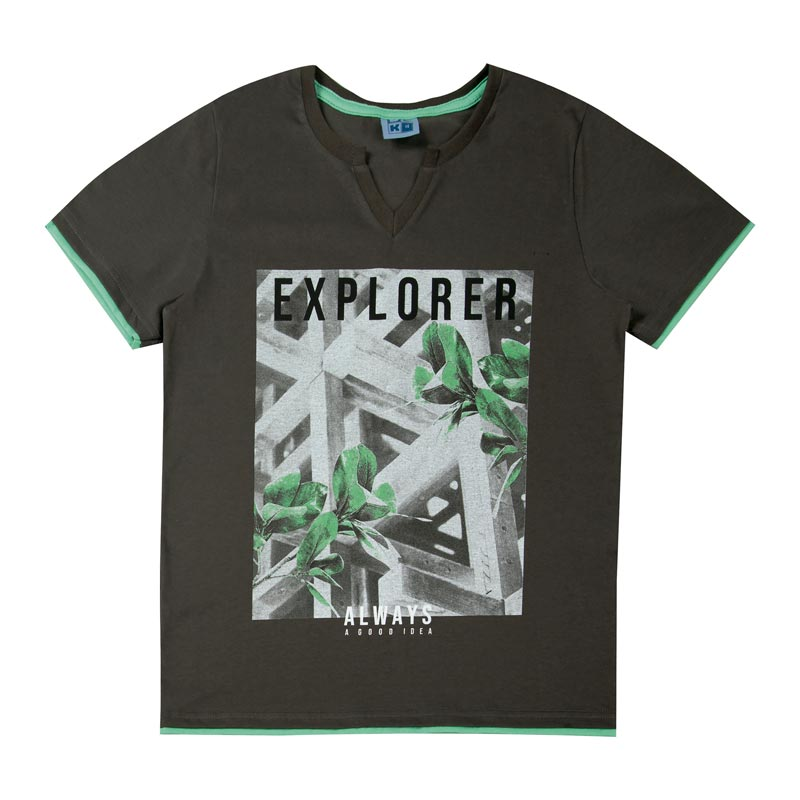 Camiseta DDK Juvenil Menino Explorer Cinza