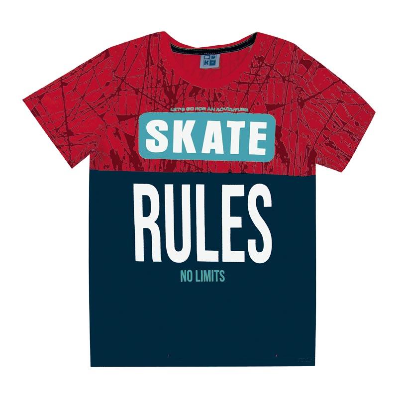 Camiseta DDK Juvenil Menino Skate Vermelho
