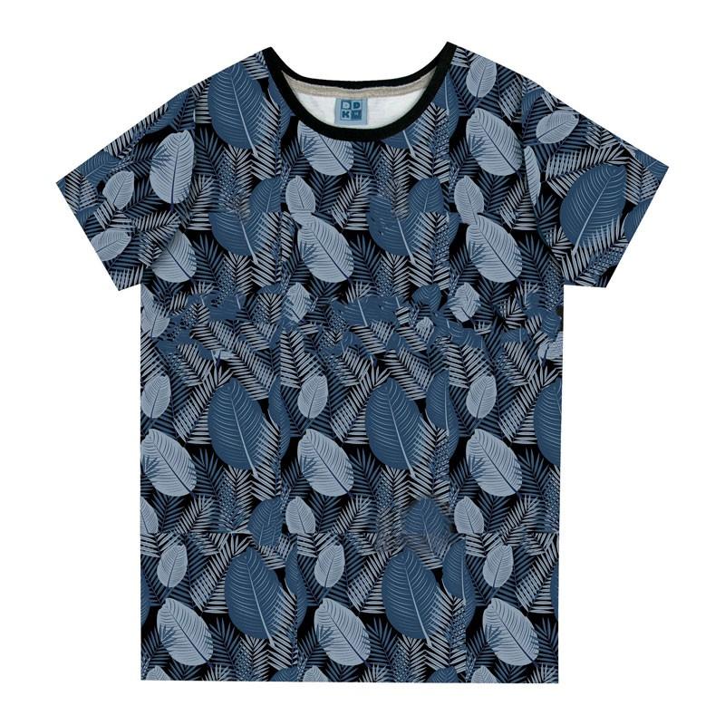 Camiseta Juvenil Menino Folhas Azul