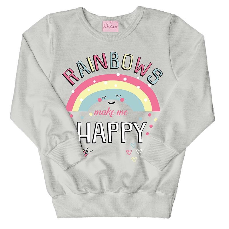 Casaco Duduka Infantil Menina Rainbows Cinza