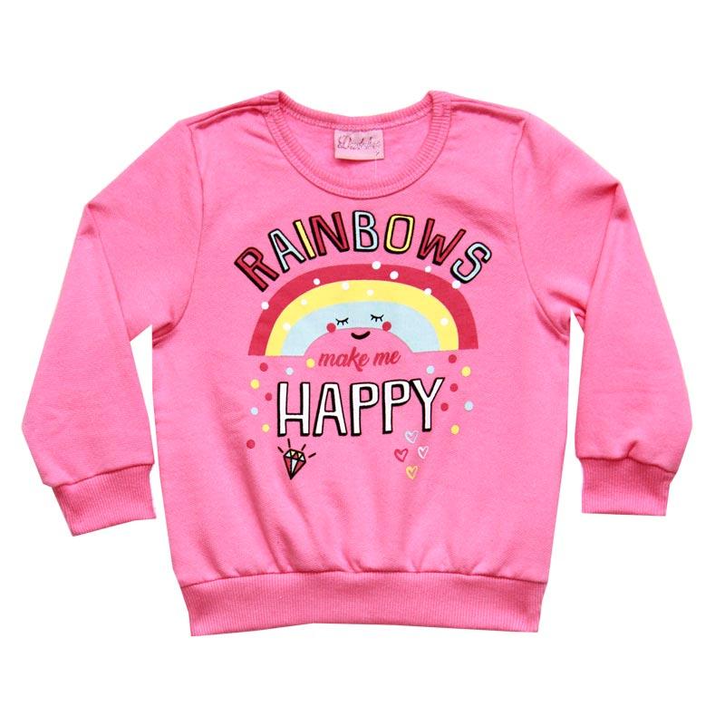 Casaco Duduka Infantil Menina Rainbows Rosa