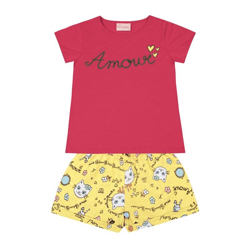 Conjunto Duduka Bebê Menina Amour Rosa