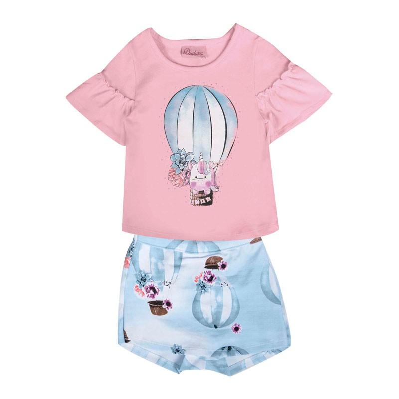 Conjunto Bebê Menina Balão Rosa
