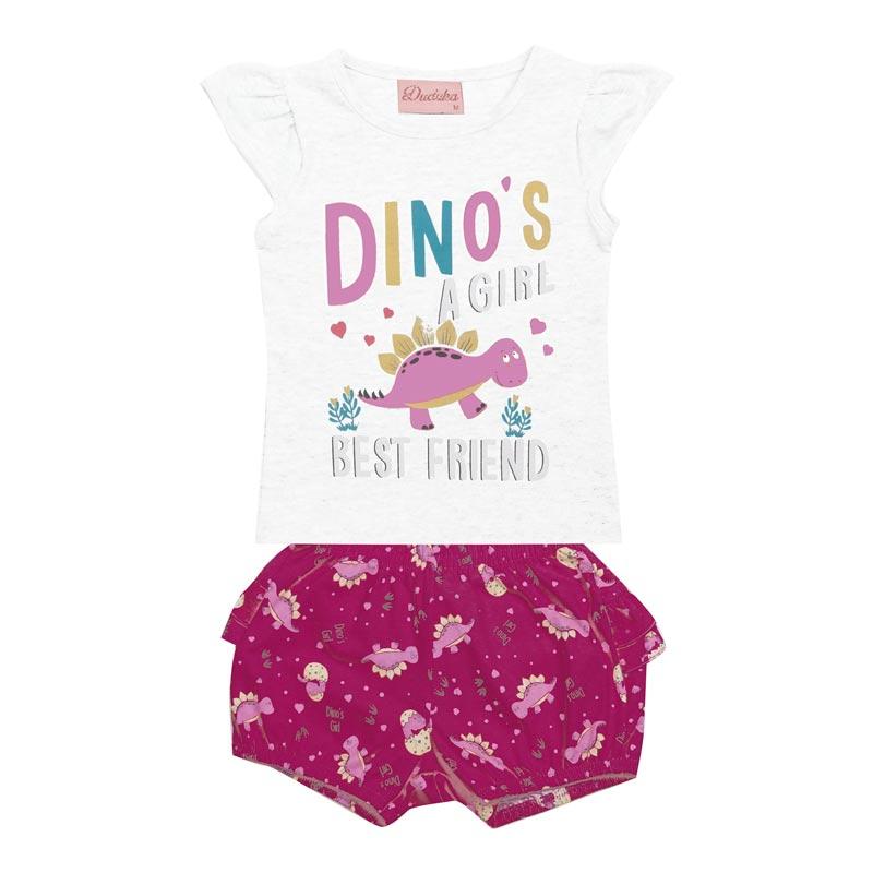 Conjunto Duduka Bebê Menina Dino Branco