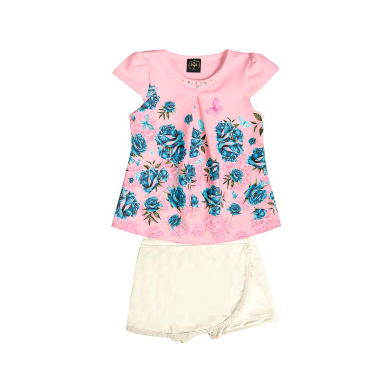 Conjunto  Paytê Infantil Menina Flores Rosa