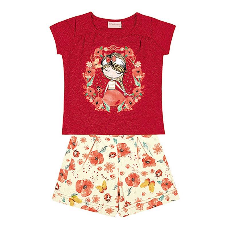 Conjunto Duduka Bebê Menina Flores Vermelho