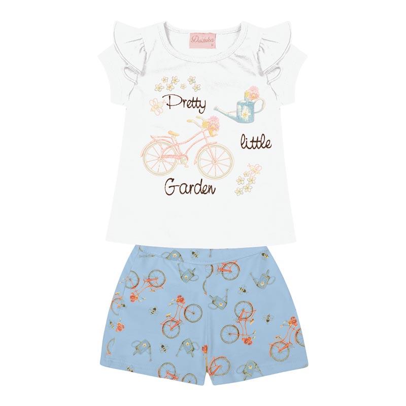 Conjunto Duduka Bebê Menina Garden Branco