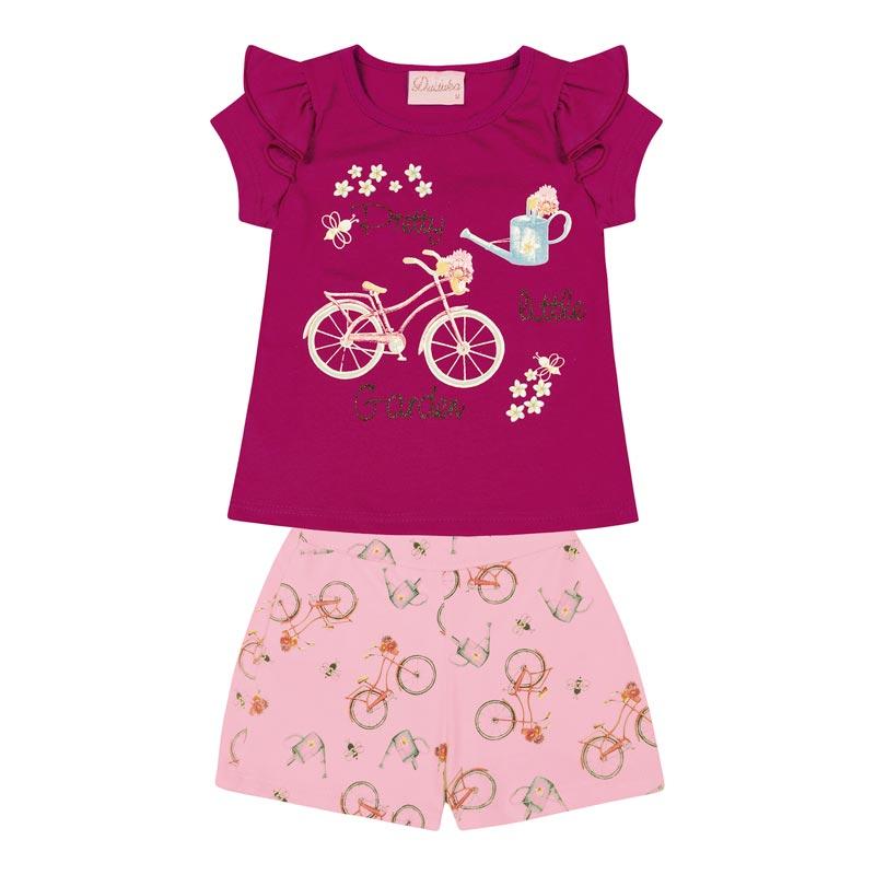 Conjunto Duduka Bebê Menina Garden Rosa