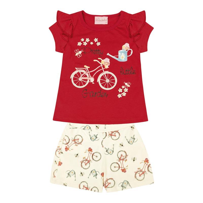 Conjunto Duduka Bebê Menina Garden Vermelho