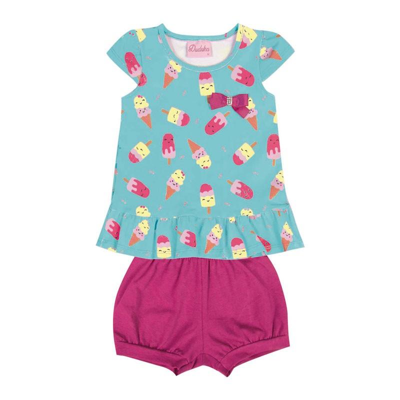 Conjunto Bebê Menina Picolé Azul / Rosa
