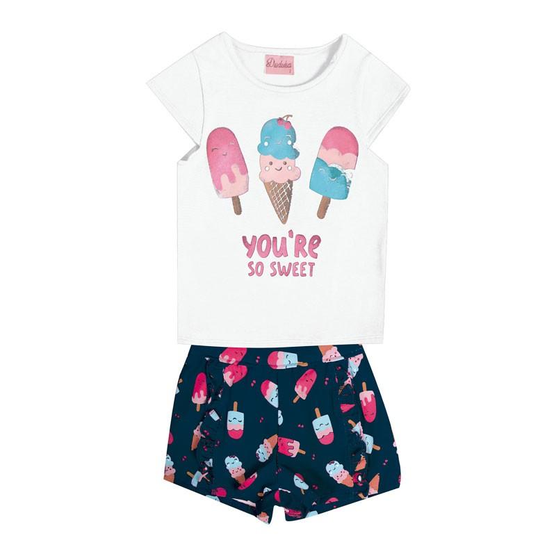 Conjunto Bebê Menina Picolé Branco
