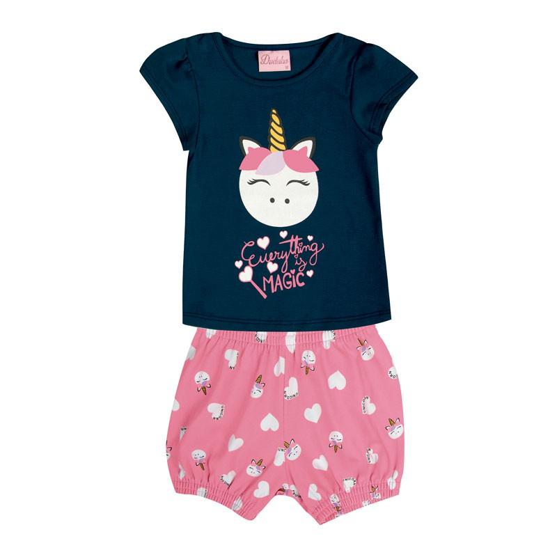 Conjunto Bebê Menina Unicórnio Azul