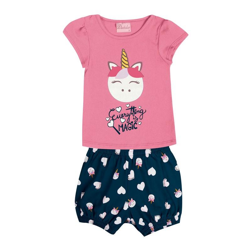 Conjunto Bebê Menina Unicórnio Rosa
