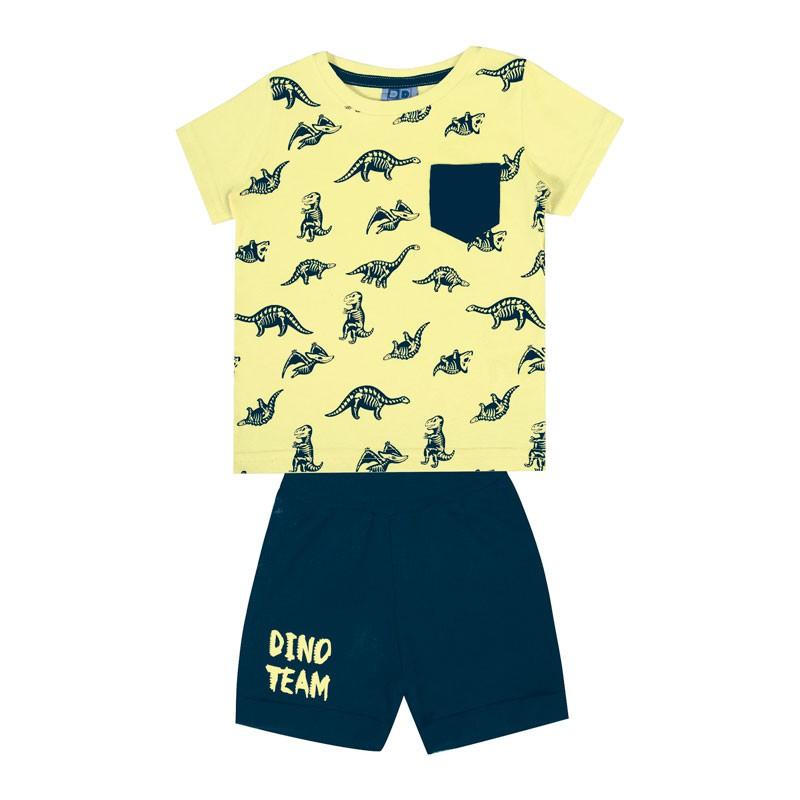 Conjunto Bebê Menino Dinossauro Amarelo