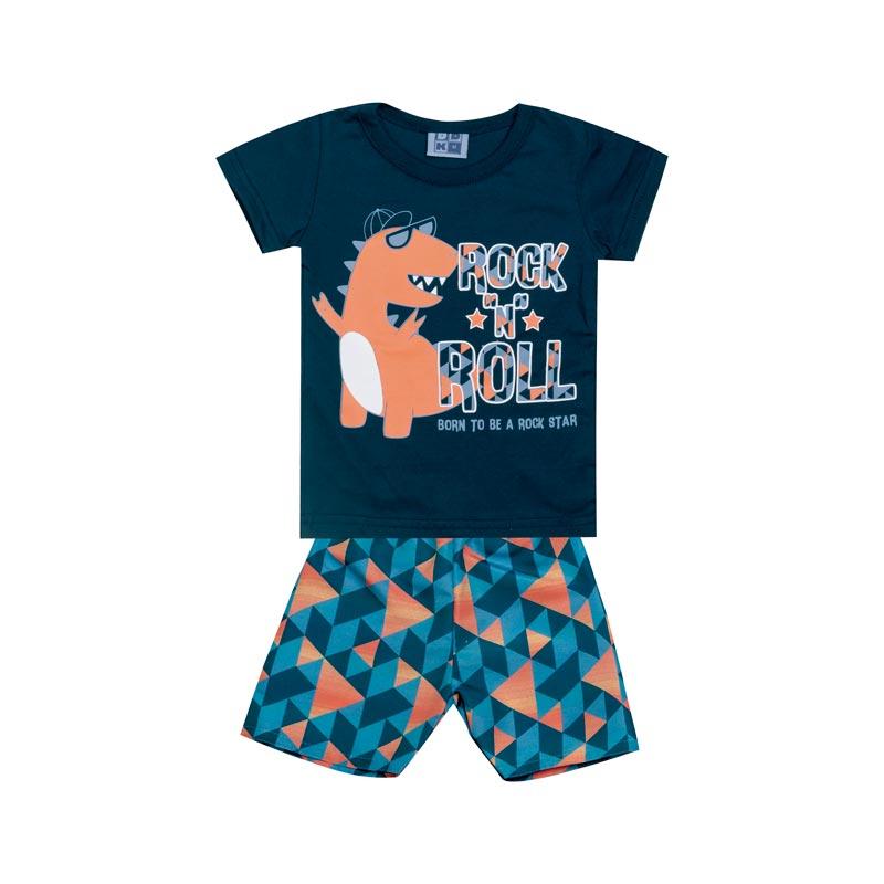 Conjunto Bebê Menino Dinossauro Azul