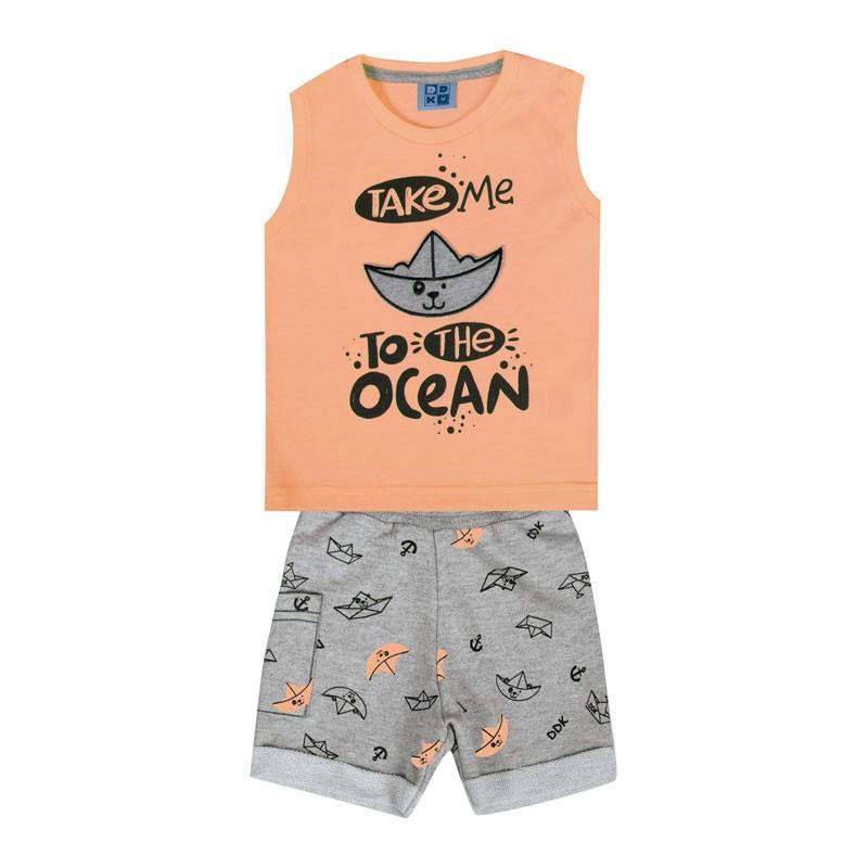 Conjunto Bebê Menino Ocean Laranja