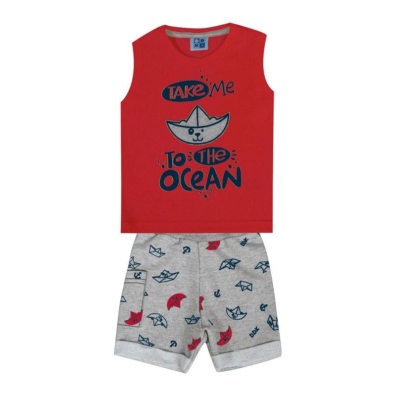 Conjunto Bebê Menino Ocean Vermelho