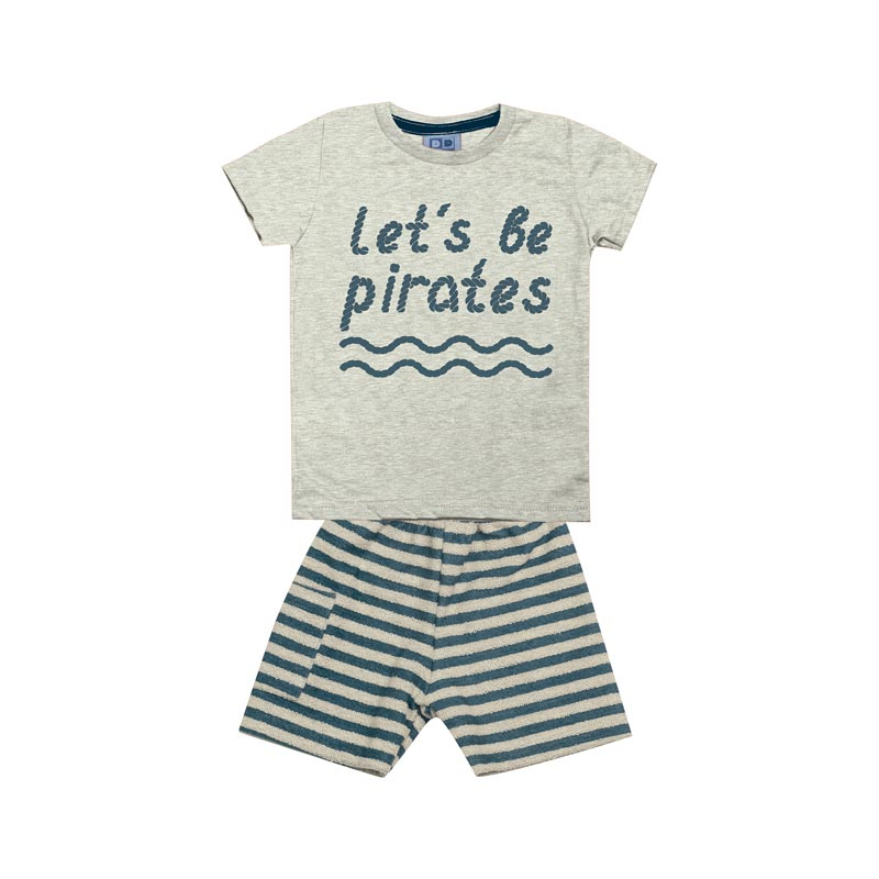 Conjunto Bebê Menino Pirates Cinza