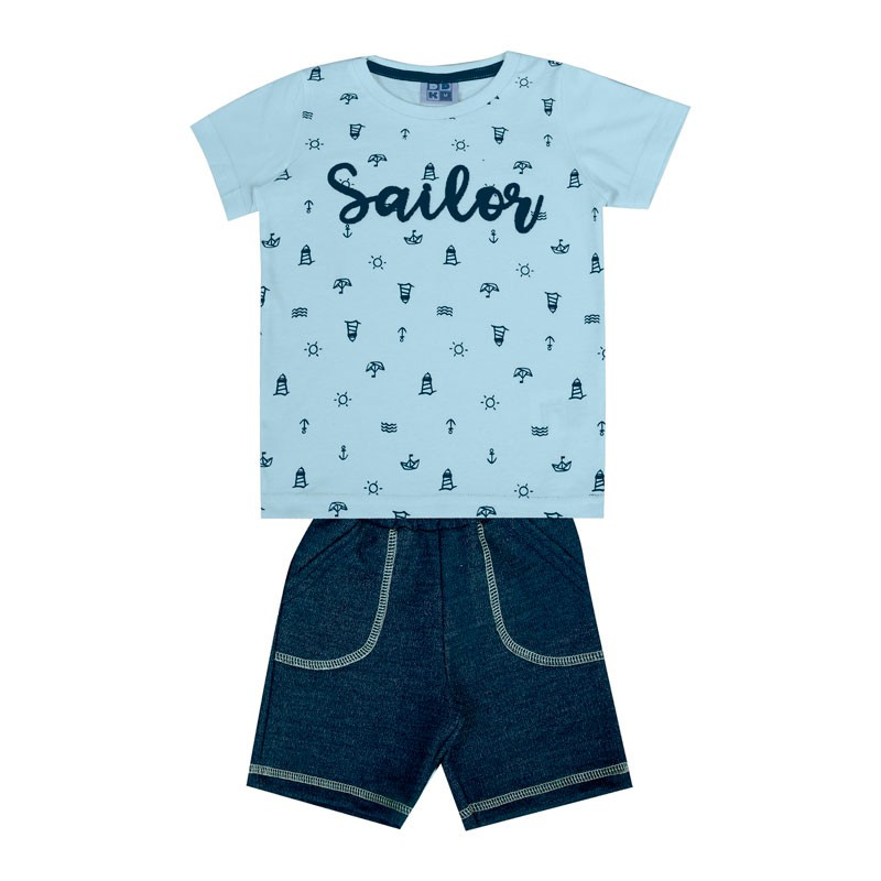 Conjunto DDK Bebê Menino Sailor Azul