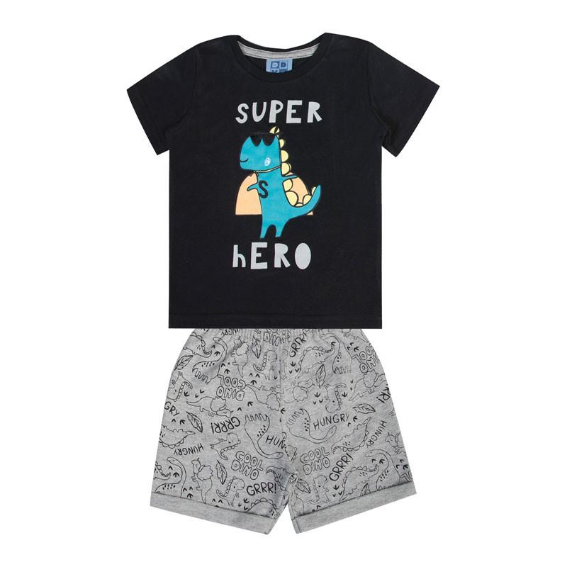 Conjunto Bebê Menino Super Hero Preto