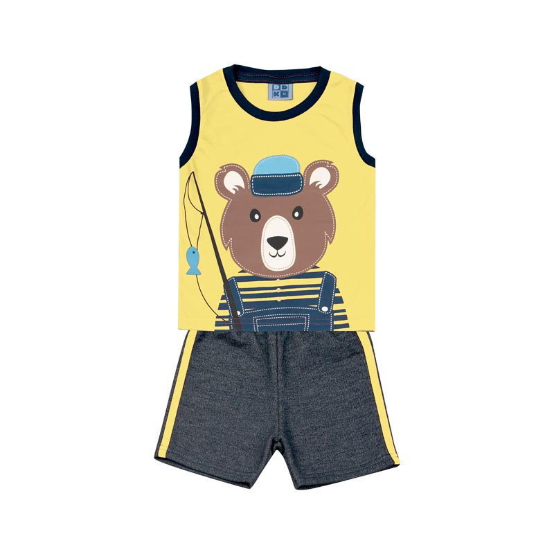 Conjunto Bebê Menino Urso Amarelo