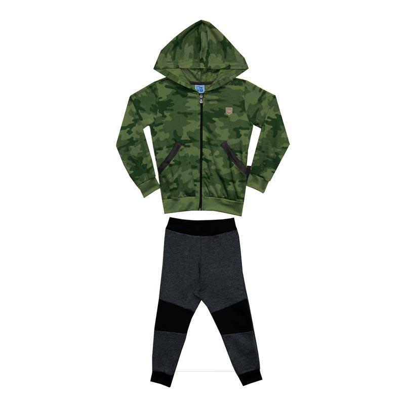 Conjunto DDK Infantil Menino Camuflado com Capuz Verde Militar