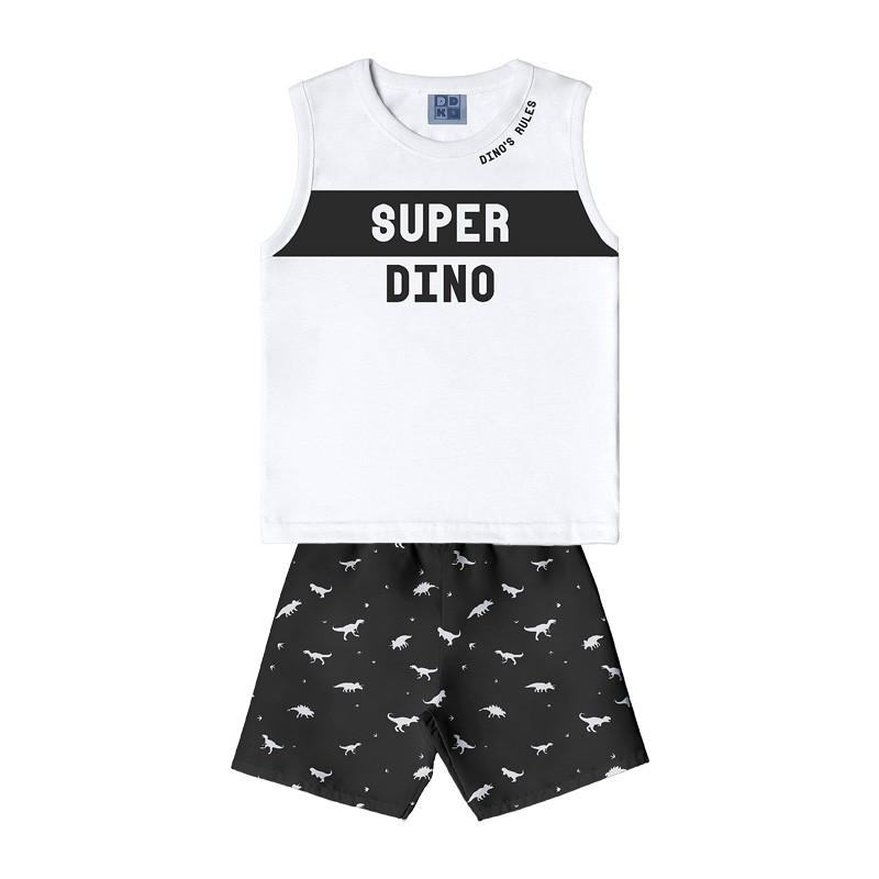 Conjunto DDK Infantil Menino Dino Branco