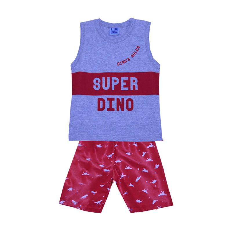 Conjunto DDK Infantil Menino Dino Cinza