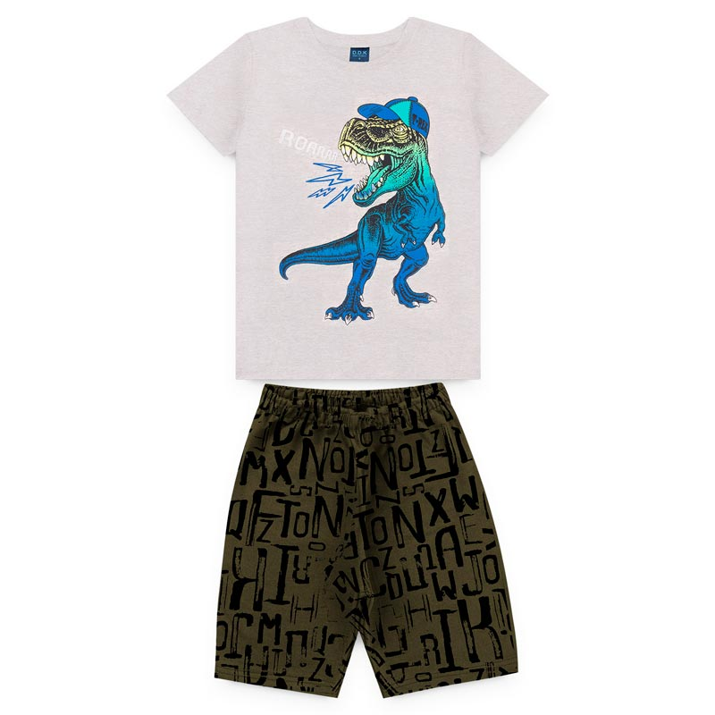Conjunto DDK Infantil Menino Dinossauro Cinza