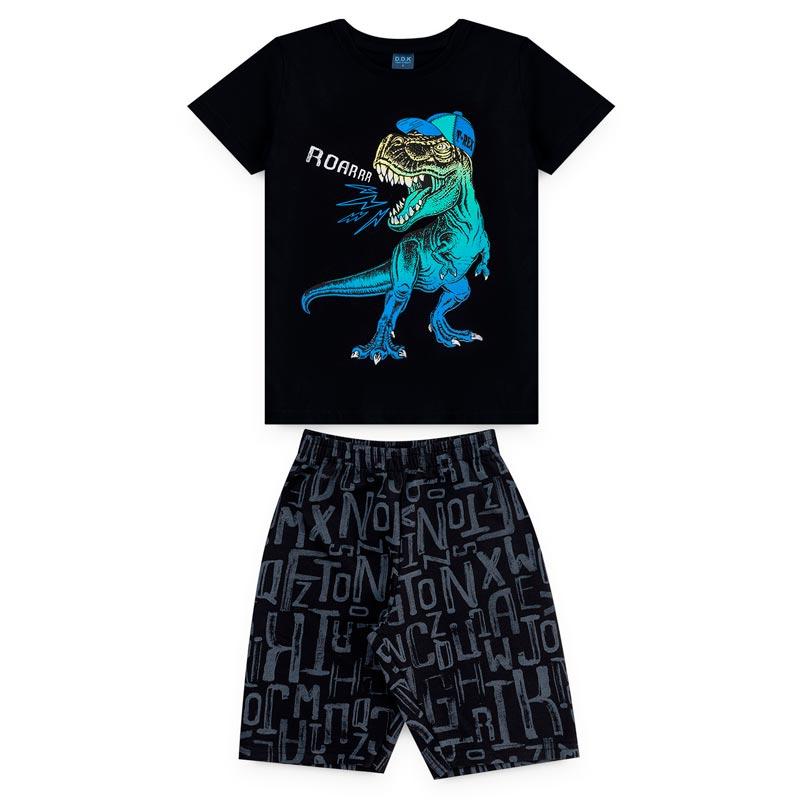 Conjunto DDK Infantil Menino Dinossauro Preto