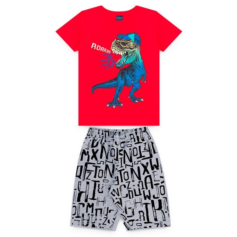 Conjunto DDK Infantil Menino Dinossauro Vermelho