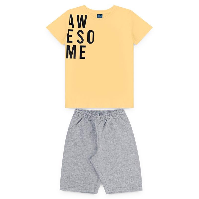 Conjunto DDK Infantil Menino Letras Amarelo