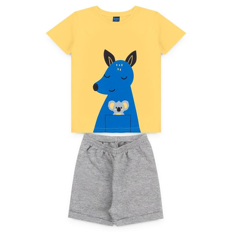 Conjunto DDK infantil Menino Lobo Amarelo