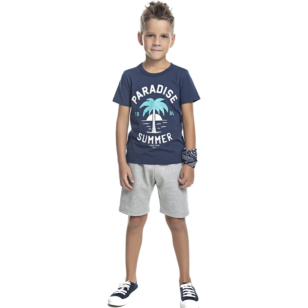 Conjunto DDK Infantil Menino Paradise Summer Azul