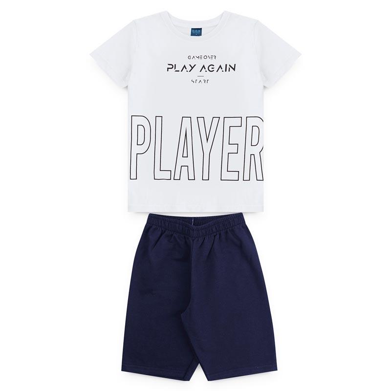 Conjunto DDK Infantil Menino Player Branco