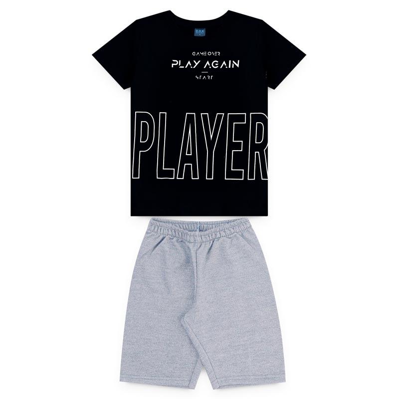 Conjunto DDK Infantil Menino Player Preto