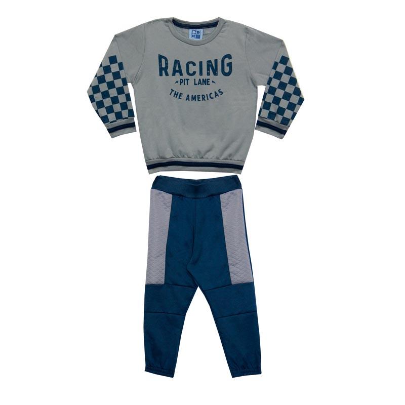 Conjunto DDK Infantil Menino Racing Cinza