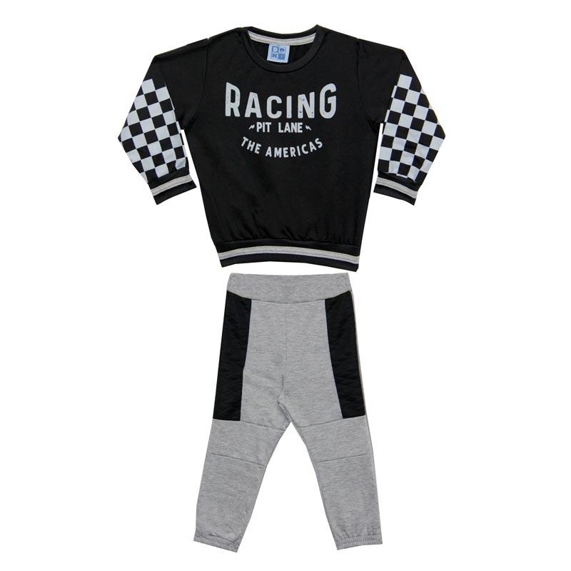 Conjunto DDk Infantil Menino Racing Preto