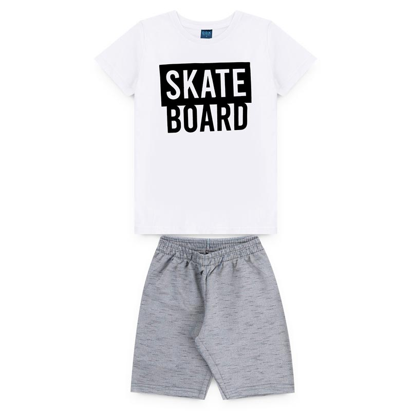 Conjunto DDK Infantil Menino Skate Board Branco