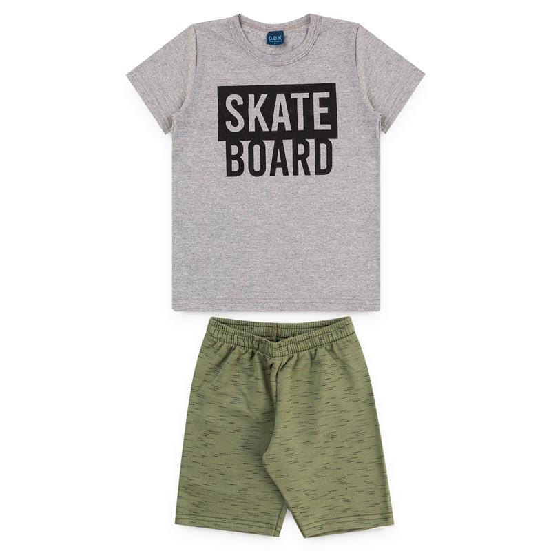 Conjunto DDK Infantil Menino Skate Board Cinza
